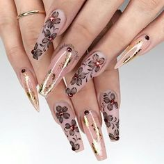 "1,674 Likes, 16 Comments - NAILPRO (@nailpromagazine) on Instagram: ""Stunning shadow flower nail art with pops of gold by Orlando-based #nailpro @chellys_nails. Thanks…"""