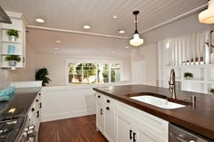 Fancy Ideas White Cabinets With Wood Countertops Best Countertop Birch Shaker