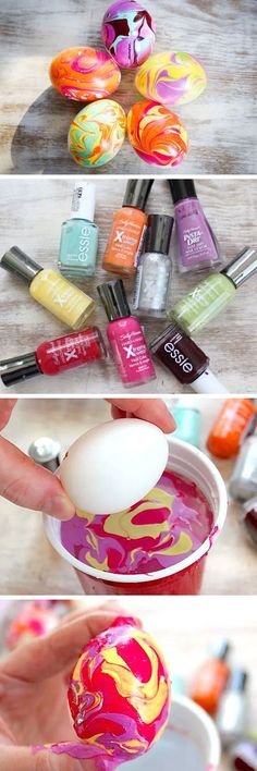 diy nail polish marbled eggs easy easter egg crafts for kids spielzeug - The world's most private search engine Diy Nagellack, Diy Nail Polish, Nail Nail, Diy Ostern, Diy And Crafts Sewing, Easy Crafts, Easy Diy, Crafts For Kids To Make, Kids Diy