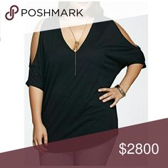 COMING SOON!! Black Cold Shoulder Top Cute cold should top in black. Deep v-neck. Long and loose-fitting. Quarter sleeves. Soft cotton. Please see measurements below for most accurate fit.   L - Bust: 50.39, Length: 30.31 inches  XL - Bust: 51.97, Length: 30.71 inches  2XL - Bust: 53.54, Length: 31.10 inches Tops
