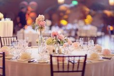 Blush Wedding. simple centerpieces. totally doable and pretty!