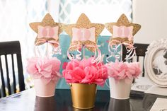 Twinkle Twinkle Little Star Birthday Center Pieces. Easy and affordable!