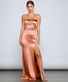 Satin Formal Dress, Satin Dresses, Formal Dresses, Windsor Dresses, Front Design, Thigh Highs, Homecoming, Bodice, Collection