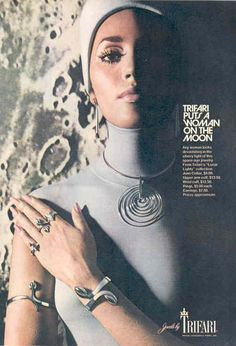 Jewelry Box, Silver Jewelry, Vintage Jewelry, Space Jewelry, 1969 Fashion, Harpers Bazaar, Looking For Women, Chokers, Ads