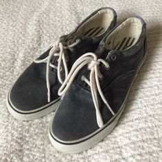 Distressed Sperry Topsider Sneakers They are styled to have a distressed, faded look. Very cute and casual sneakers! Super comfortable, I just don't wear them often enough. Needs a new home! Sperry Top-Sider Shoes