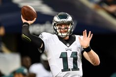Quarterback Carson Wentz of the Philadelphia Eagles warms up prior to the game against the Chicago Bears at Soldier Field on Sept. 19, 2016 in Chicago.