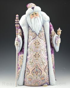 Purple and Pearl Elegant 18 inch Russian Santa