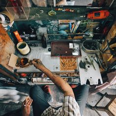 Point of view shot of a local man working at the Khlong Toei market - Bangkok Thailand. by doyoutravel