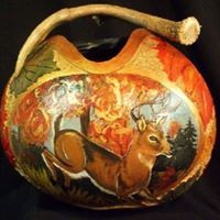 Carved and hand painted White Tail Gourd Vessel w/antler handle - Black Magic - Tuxedo Gourd Rabbit in a silk top hat - 2014 Gourd Design by Carolyn Reif-Lockwood