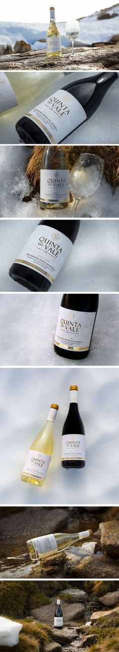 Quinta do Vale wines are noble, fresh and elegant, characteristics that were the inspiration for the label design which are reflected in the golden and white tones, in analogy to Serra da Estrela.  #design and #photography by #macreativeagency #labeldesign #wines #winelabeldesign #portuguesewines #portugal #vinhos #gold #snow