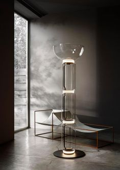 Flos Noctambule Floor Lamp With 3 Cylinders, Bowl And Base By Konstantin Grcic - All For Decoration Captain Flint, Glass Structure, Luminaire Design, Room Lamp, Led Licht, Bowl, Lighting Design, Lighting System, Modern Lighting