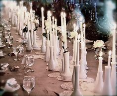 Love all the doilies and vases used as candlesticks! All white candles and roses! Great Effect! Decor - USA - Milk Glass Bud Vases!!! | Weddingbee