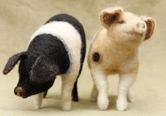 Needle felted black and white pig  READY TO SHIP