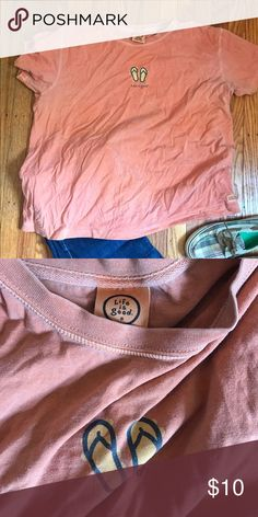 62db08d4a2930 Shop Women s Life Is Good Orange size XL Tees - Short Sleeve at a  discounted price at Poshmark. Description  Cotton Life Is Good T shirt with  flip flops.
