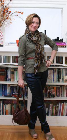 Olive Jacket, leopard top, navy pants