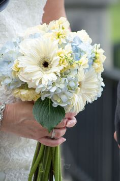 southern romantic bouquet of blue hydrangea, white rose, and white gerber daisies! By Reynolds Treasures