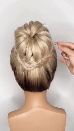 Bun Hairstyles For Long Hair, Girl Hairstyles, Wedding Hairstyles, Hairstyles Videos, Hairstyles For A Party, Simple Hair Updos, Long Hair Dos, Donut Bun Hairstyles, Simple Bun