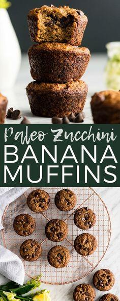 Paleo Zucchini Banana Muffins! The perfect healthy breakfast recipe that delivers a serving of fruits AND veggies! Paleo, gluten-free & dairy-free! #paleo #zucchini #banana #muffins #glutenfree #grainfree #dairyfree #vitamix via @joyfoodsunshine