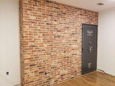 Love this great idea to accentuate a home safe! https://www.arizonatile.com/en/products/porcelain-and-ceramic/castle-brick-series #brick #bricklook #porcelain #tile