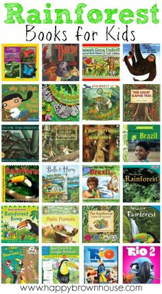 This Rainforest Books for Kids list is perfect for a homeschool unit study on Brazil, South America, Rainforest Preschool, Rainforest Classroom, Preschool Jungle, Rainforest Habitat, Rainforest Theme, Preschool Books, Rainforest Creatures, Rainforest Facts, Amazon Rainforest Animals