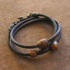 Antique African Beaded Leather Bracelet - Solid Copper, Bronze, Dark Brown Rustic Wrap Around