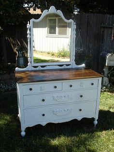 Antique, Shabby Chic Dresser with Mirror. Walnut stained top. #shabbychicfurnituremakeover