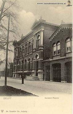 Phoenixstraat_Societeitt Delft, Blue Pottery, Nassau, Gravure, Vintage Postcards, Netherlands, Dutch, Louvre, Mansions