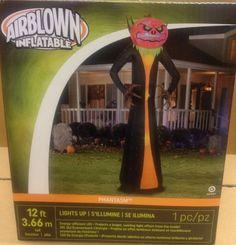 12' Gemmy Halloween Pumpkin Reaper Swirling Light Show Airblown Inflatable Prop