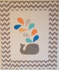 Whales, Fleece baby blankets and Quilting Projects, Quilting Designs, Sewing Projects, Cot Quilt, Fleece Baby Blankets, Baby Quilts, Children's Quilts, Stroller Blanket, Applique Quilts