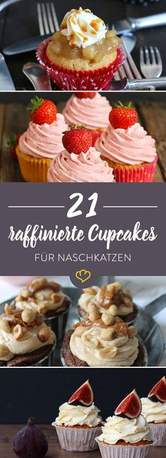 21 raffinierte Cupcake-Ideen Fruity, chocolaty or very original with Snickers and Coke? This is where your cupcake dreams come true – with as many as 21 delicious ideas. Mini Desserts, Lemon Desserts, Lemon Recipes, Fall Desserts, Homemade Cake Recipes, Cupcake Recipes, Cherry Muffins, Little Cakes, Big Cakes
