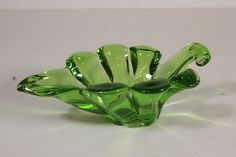 "Green Art Glass Cupped Leaf Creamer Small Pitcher Unusual Paperweight 8 3/4"" L"