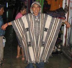 Grey hooded Poncho, ethnic coat made of Alpaca wool