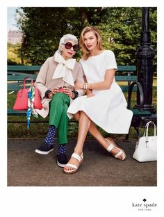 Iris Apfel and Karlie Kloss for Kate Spade Spring 2015