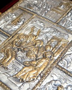 Silver leather binding Gospel with the scenes from the life of Lord, with gold decorations Byzantine copy, end of the century. Gold Decorations, Byzantine Art, 18th Century, Lord, Scene, Silver, Handmade, Leather, Hand Made
