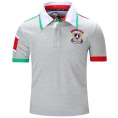Turn-Down Collar Letters Badge Embroidered Color Block Spliced Short Sleeve Polo T-Shirt For Men - Gray 2xl