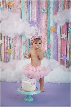 BEST CAKE SMASH EVER!! Unicorns and tutus-a must for baby's first birthday shoot!