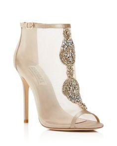Badgley Mischka Rana Jeweled Open Toe High Heel Booties | Bloomingdale's