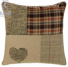 """Ideal Textiles, Patchwork Heart Cushion Covers, Wool Blend Cushions, Embroidered Tartan Check, Pillow Covers, 18"""" x 18"""", 45cm x 45cm (Natural): Amazon.co.uk: Kitchen & Home"""