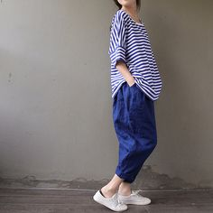 linen pants / wide leg / capri Pants / loose Trousers for by Aolo