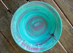 Dragonfly aqua pink dinner plates. TheRusticHome.etsy.com