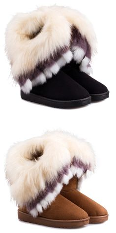 $22.24 Casual Multicolor Fur Design Women's Snow Boots