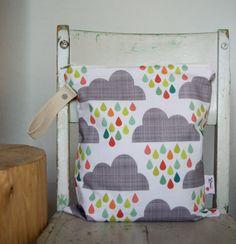 7d76aeaad63 Wet Bag Happy Rain Clouds large scale - Green, Blue, Grey Waterproof Wet Bag