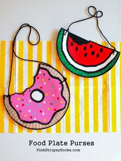 5 Paper Plate Doughnut and Watermelon Purses Craft