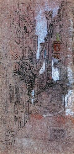"""""""A Street in Venice,"""" James Abbott McNeill Whistler, 1879-1880, chalk and pastel on grey paper, 10 x 5"""", private collection."""