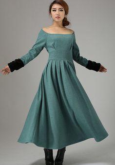Green dress wool dress maxi winter dress 737 by xiaolizi on Etsy, $96.00