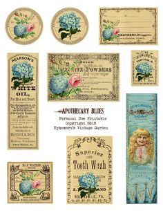 Vintage Garden: Free Printable - Apothecary Tags & Labels With Flowers ~ Free printables! Vintage Labels, Vintage Ephemera, Vintage Cards, Vintage Paper, Vintage Images, Printable Labels, Printable Art, Free Printables, Printable Vintage