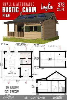13 Best Small Cabin Plans with Cost to Build – Craft-Mart Rustic Cabin Plans Layla is one of the most traditional-looking small cabins plans with a loft and a porch. The loft can be used for sleeping or storage. The main bedroom is on the ground floor. Cabin Plans With Loft, Loft Floor Plans, Small Cabin Plans, House Plan With Loft, Cabin House Plans, Tiny House Cabin, Small House Plans, House Floor Plans, Small Cabins