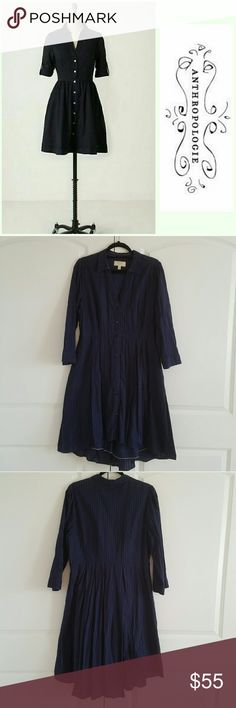 Anthropologie Moulinette Soeurs Navy Shirtdess 14 Anthropologie Moulinette Soeurs navy shirtdress in Size 14. (I believe the style is Reed.) VGUC. The belt loops have been removed. Anthropologie Dresses Midi