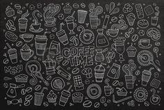 Koffietijd doodles hand getekende krijtbord symbolen en objecten Stockfoto