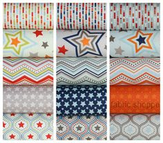 One For The Boys Stars quilt or craft fabric bundle by Zoe Pearn for Riley Blake Designs- Entire Line in Fat Quarters- 15 total